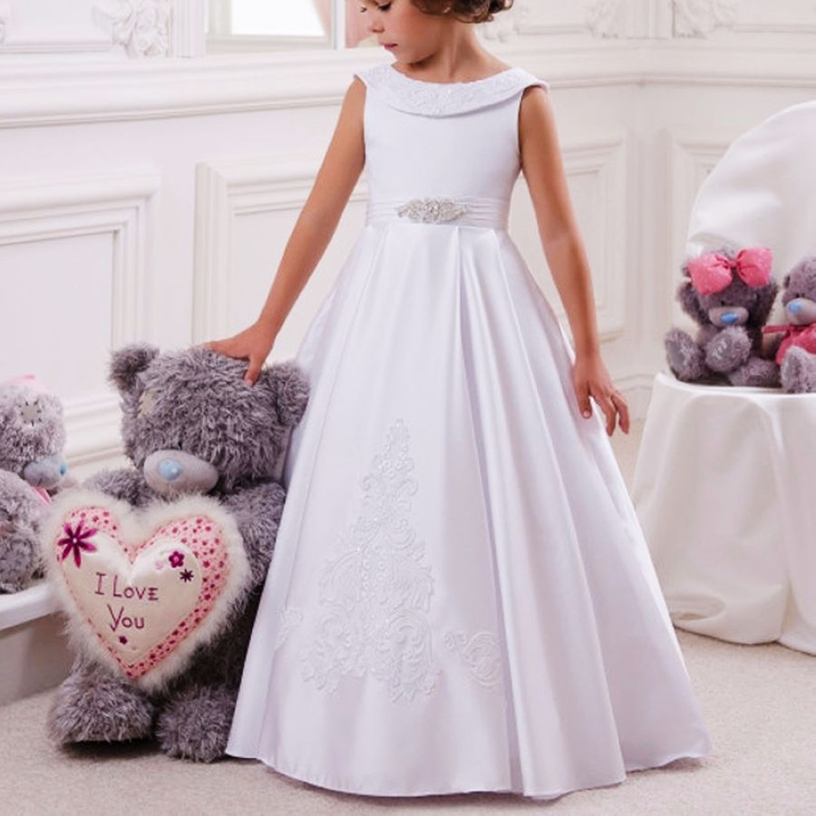 Princess Satin Little Kids Baby Cloths Party Gown Flower Girl