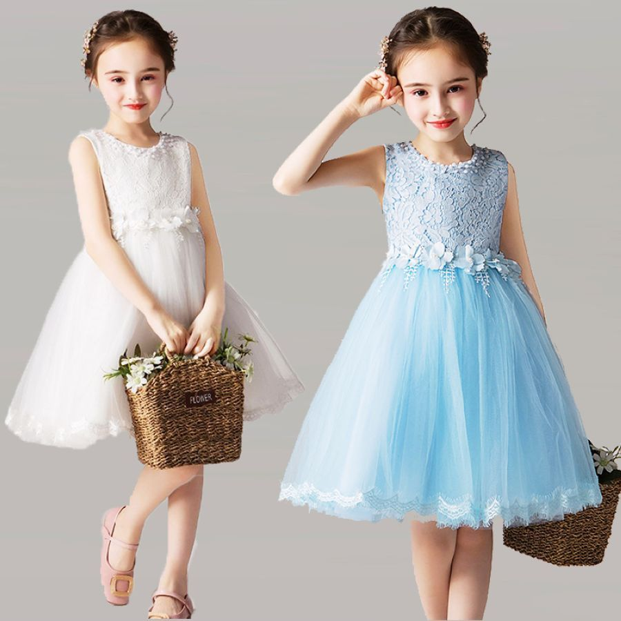 Sweetheart Flower Girl Dresses Lace Appliques Bow Sashes Wedding Pageant