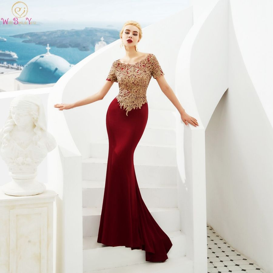 Wine Red Evening Dresses 2019 Beaded Gold Lace Appliques Mermaid