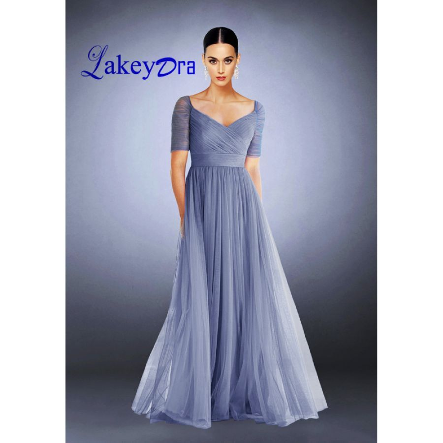 Lakeydra A-Line Evening Dresses Tulle Deep V-Neck Short Sleeve With