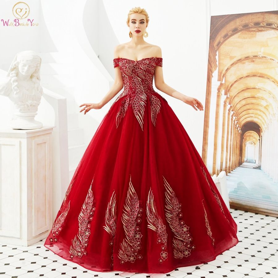 Wine Red Prom Dresses 2019 Green Ball Gown Tulle Gold