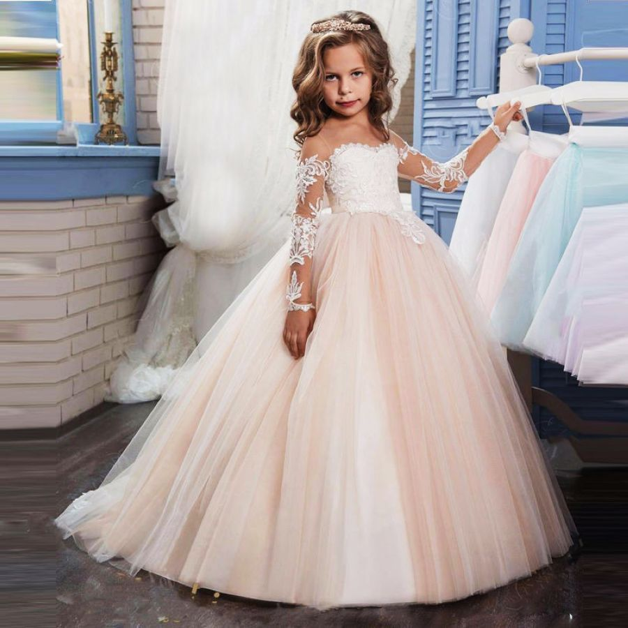 Transparent Long Sleeves Holy Communion Dresses Teen Costume Childrens Clothing