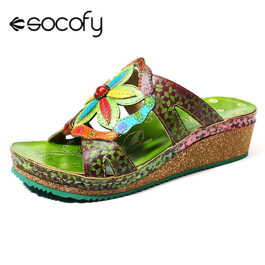 Shoes Socofy Vintage Genuine Shoes Leather Splicing Hand Painted Floral