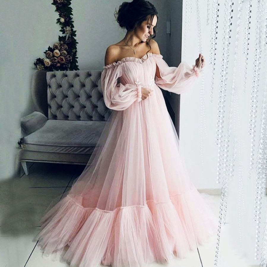 Verngo Pink Tulle Evening Dress Long Sleeves Formal Dress Candy
