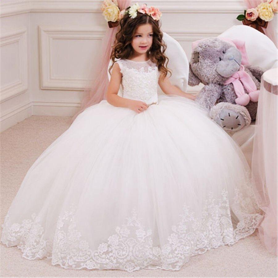 Sheer Neck Lace Ball Gown Flower Girl Dresses For Wedding