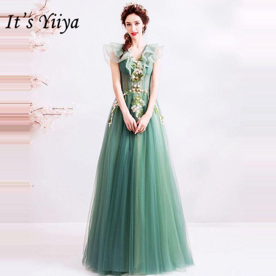 Its Yiiya Prom Gowns V-Neck A-Line Floor Length Elegant Long