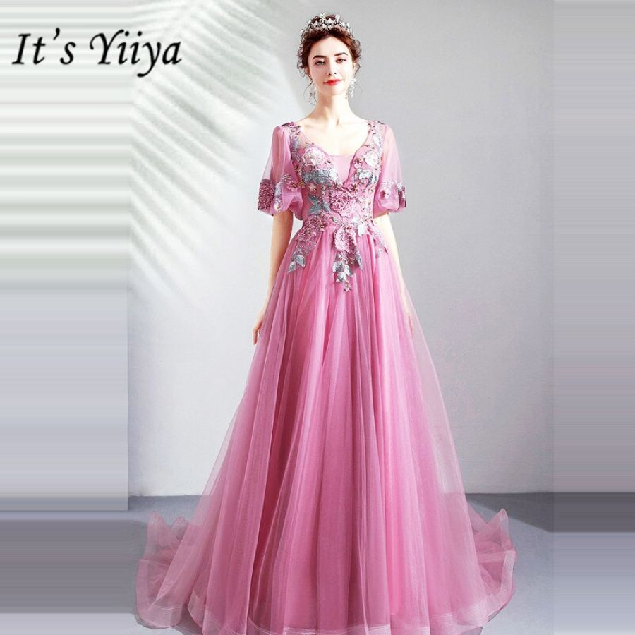 Its Yiiya Prom Gowns V-Neck Short Sleeves A-Line Floor Length