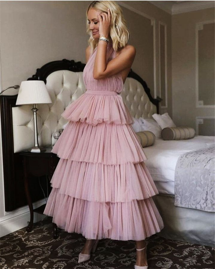 Verngo Soft Tulle Tiered Evening Dress Morandi Gown New Design