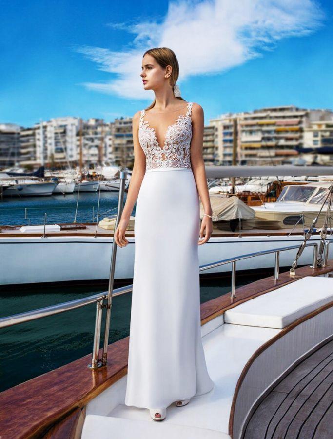 Verngo Vintage Scoop Chiffon Evening Dress Appliqued Formal Dress Simple