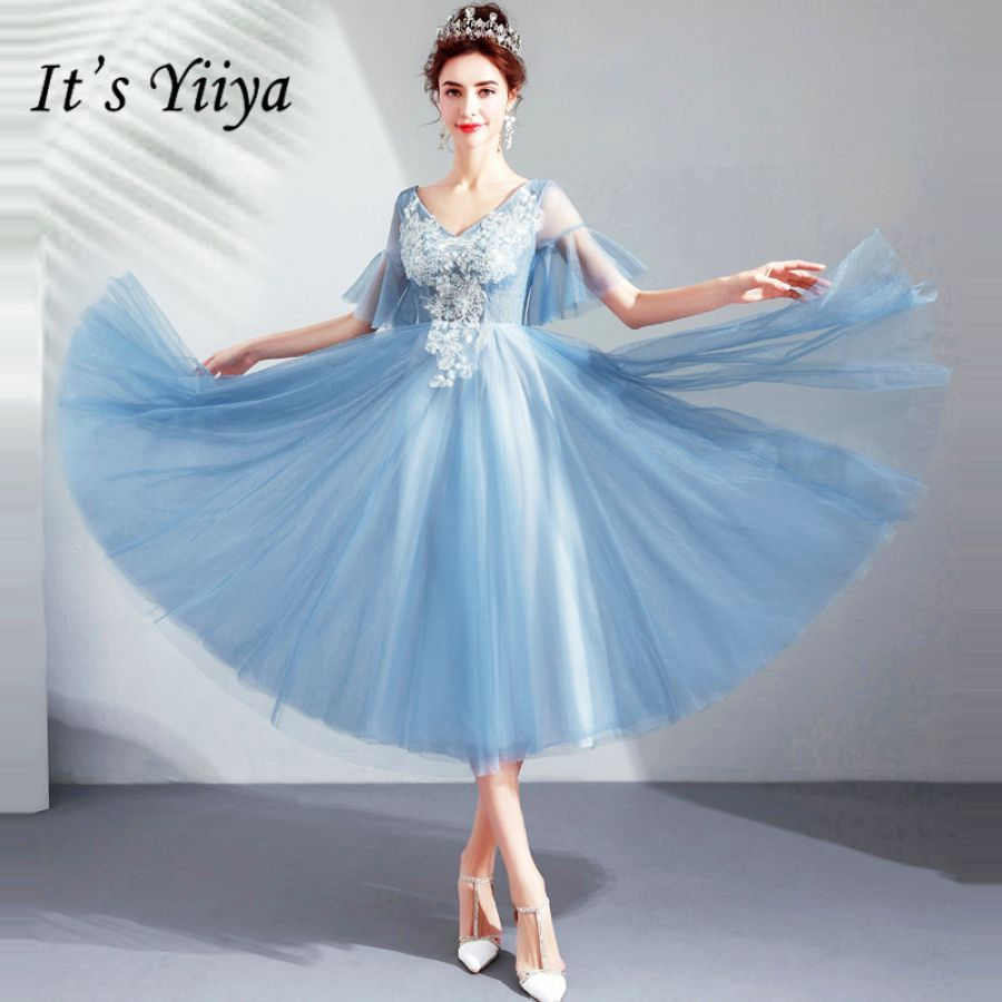 Its Yiiya Prom Gowns Blue V-Neck Short Sleeves A-Line Tea-Length