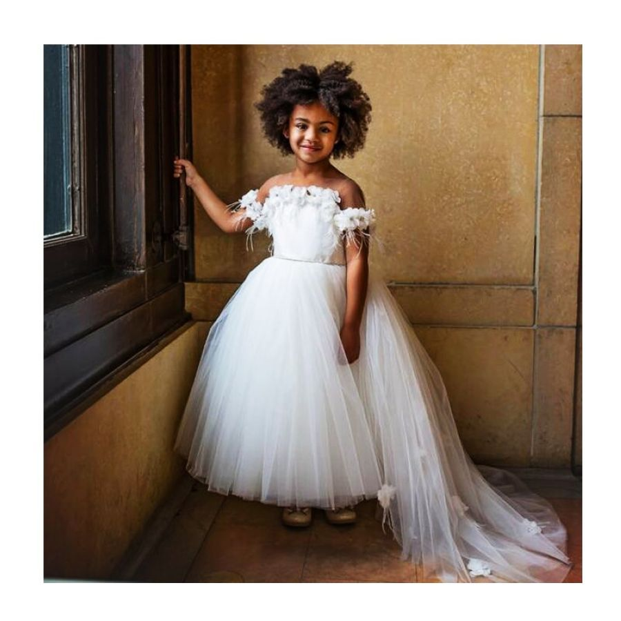 White Princess Girls Pageant Gown Sheer Neck Flower Feather Cap