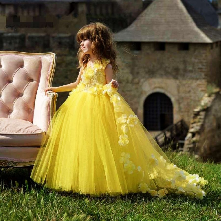 Yellow Flower Girl Dress Birthday Wedding Party Holiday Lace Communion