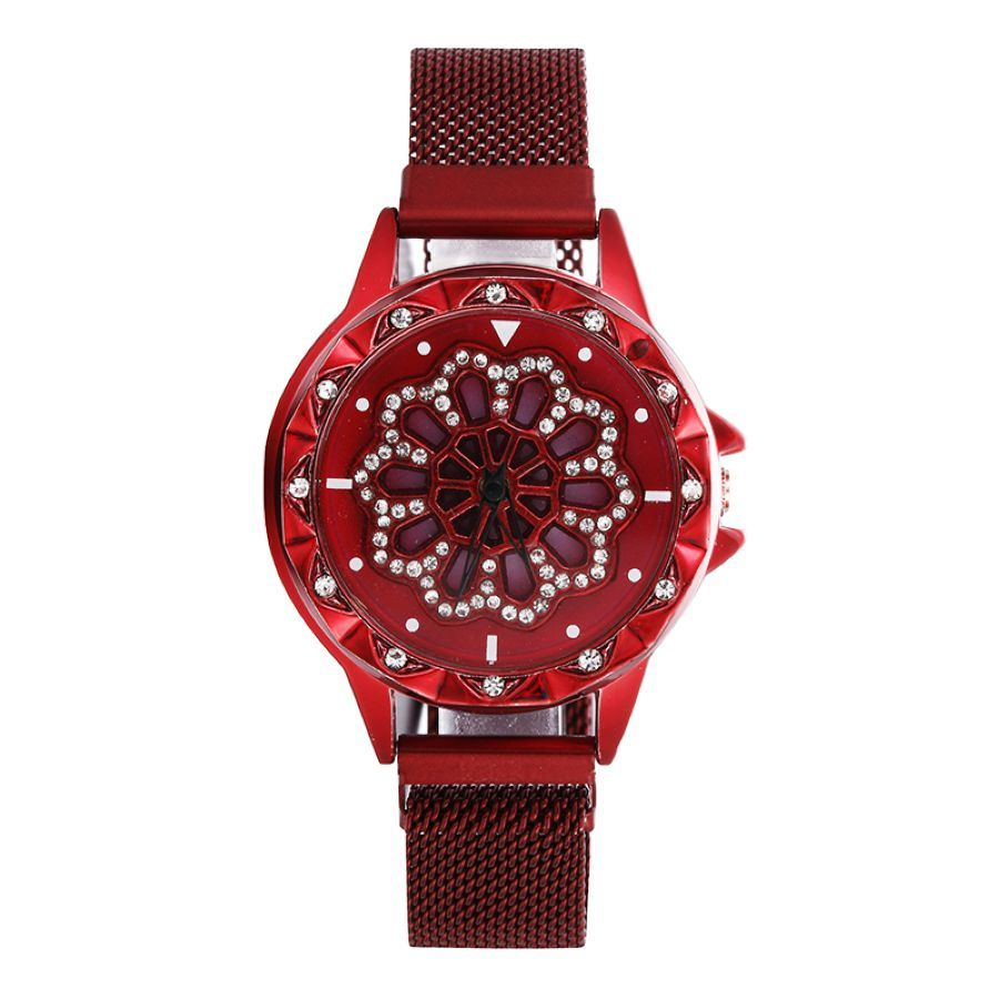 Women Fashion Diamond Rotating Magnetic Watch Starry Sky Flower Female