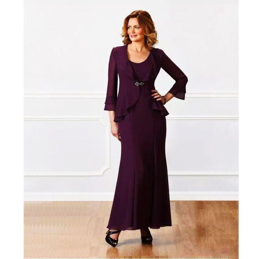 Lakeydra Dark Purple Mother Dresses Two Piece Cheap Chiffon Plus