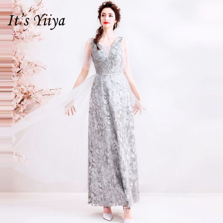 Its Yiiya Prom Gowns V-Neck Short Sleeves A-Line Beading Ankle-Length