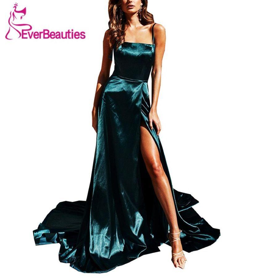 Robe De Soiree Evening Dress Long 2019 Satin Side Slit