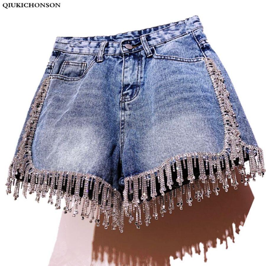 Qiukichonson Diamond Tassel Denim Shorts Women Summer 2019 England Style