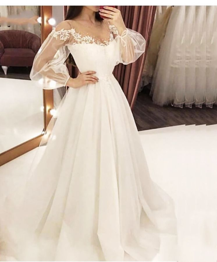 Verngo Illusion Tulle Long Sleeve Evening Dress Simple Appliques Evening