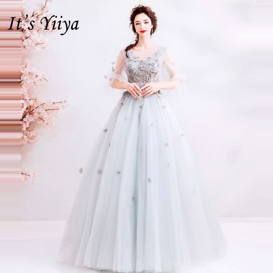 Its Yiiya Prom Gowns V-Neck Half Sleeves Beading Ball Gown