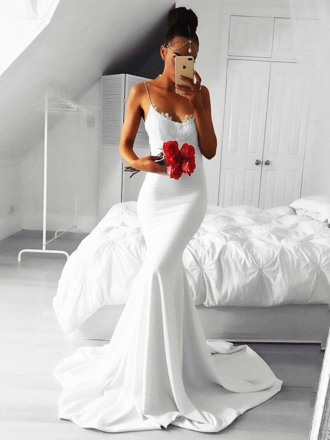 Verngo Spaghetti Straps Evening Dress Mermaid Formal Dress V-Neck Classic