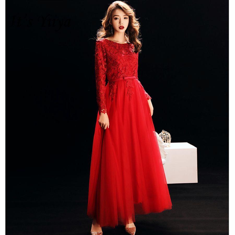Its Yiiya Vestidos De Gala Burgundy Floral Lace O-Neck Prom