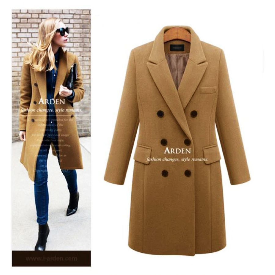 Casual Wool Solid Long Coat Ladies 2019 Autumn Winter Warm
