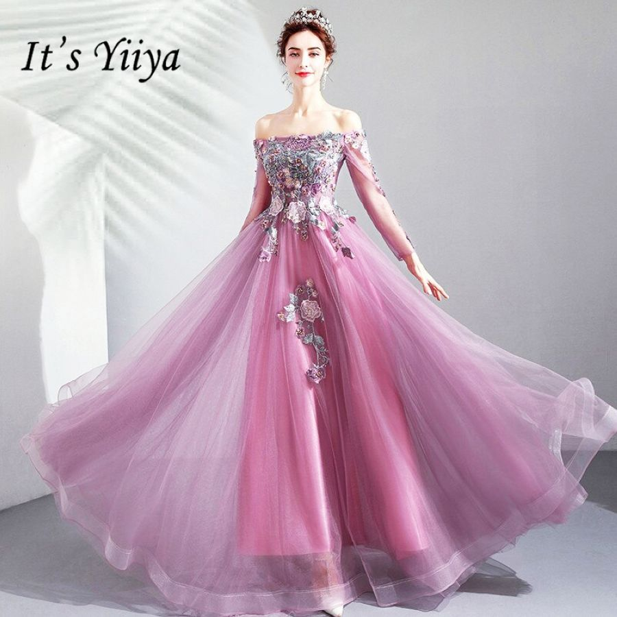 Its Yiiya Prom Gowns Boat Neck Full Sleeves A-Line Beading