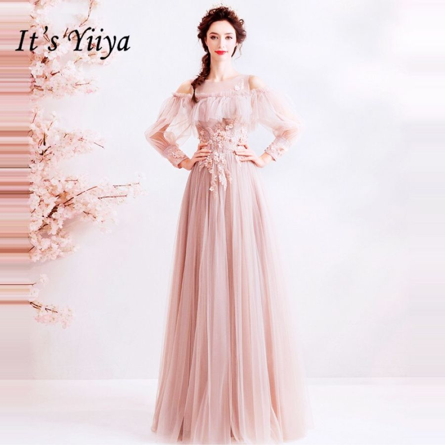 Its Yiiya Prom Gowns O-Neck Full Sleeves A-Line Beading Floor