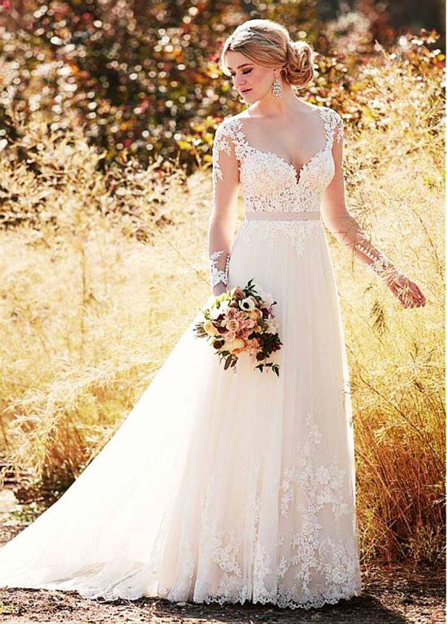 Vestido de boda de la princesa 2019 manga larga playa v