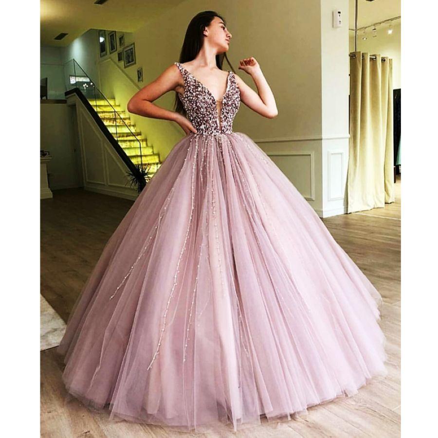 Lakeydra Beading Prom Dress Ball Gown Deep V-Neck Sleeveless With