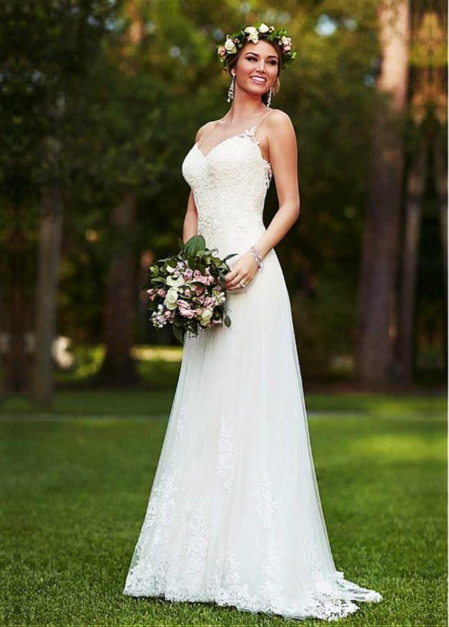 Lado alto split playa vestidos de boda 2019 barato de m