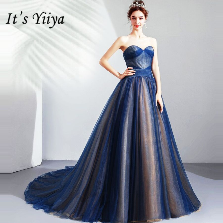 Its Yiiya Prom Gowns Strapless Sleeveless A-Line Floor Length Court