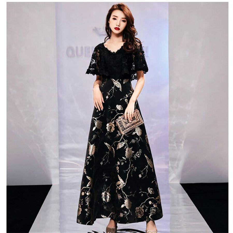 Its Yiiya Vestidos De Gala Strappy Backless Floral Lace V-Neck
