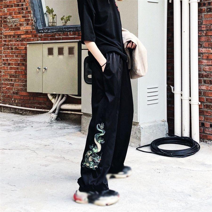 2019 Vintage Solid Color Elastic Waist Wide Leg Pants Chinese