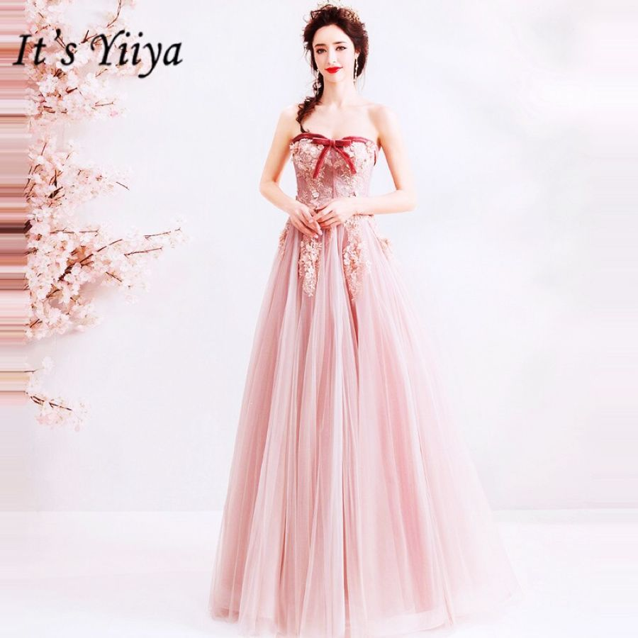 Its Yiiya Prom Gowns Pink Strapless Sleeveless A-Line Floor Length