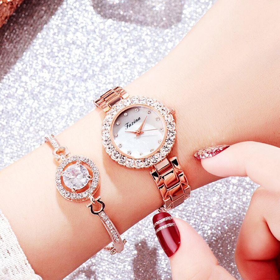 2 Pcs Set Watch Women Rose Gold Diamond Bracelet Watch