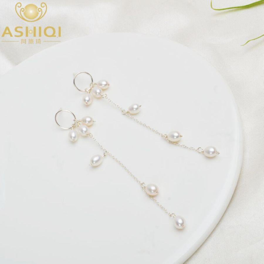 Ashiqi Natural Freshwater Pearl Long Earrings 925 Sterling Silver Dangle