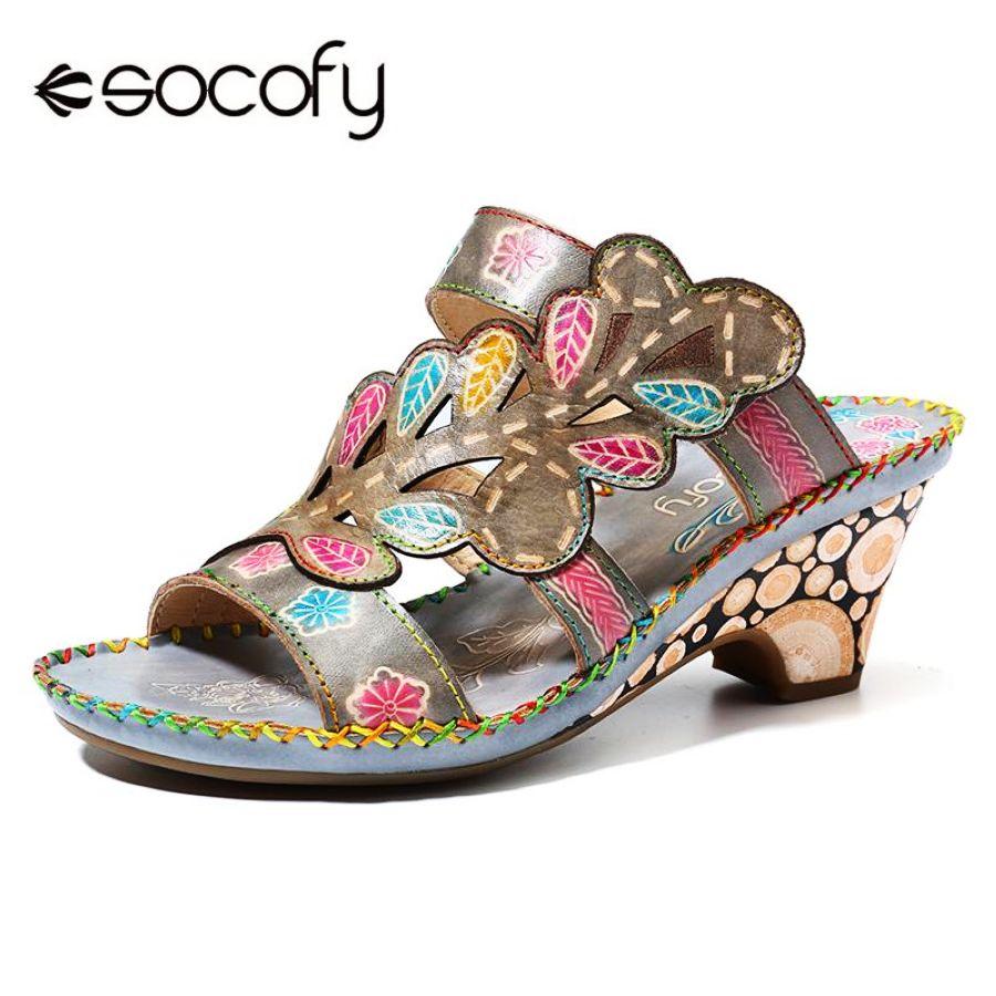 Shoes Socofy Bohemia Sandals High Heel Handmade Genuine Leather Adjustable