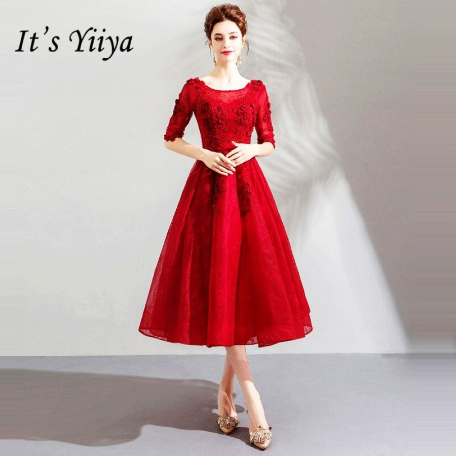 Its Yiiya Prom Gowns Red O-Neck Half Sleeves A-Line Knee-Length