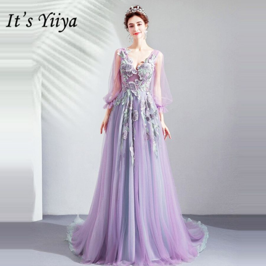 Its Yiiya Prom Gowns Purple V-Neck Full Sleeves Floor Length