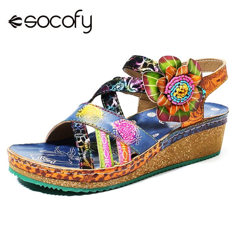 Shoes Socofy Bohemia Sandals Pattern Genuine Leather Floral Hook Loop