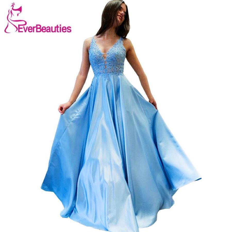 Vestido De Festa Longo Sky Blue Evening Dress Long 2019