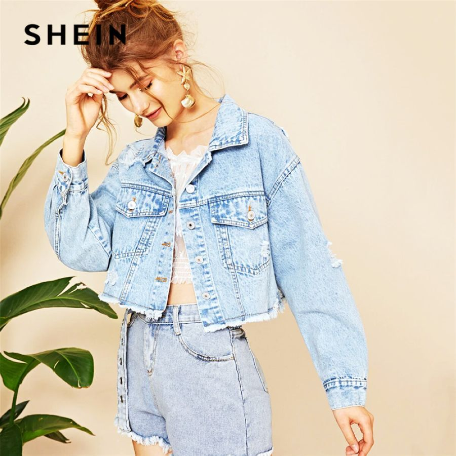 Blue Ripped Frayed Edge Flakes Crop Denim Jeans Jacket Women