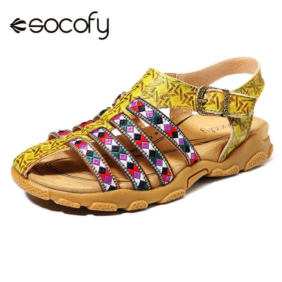 Socofy sandalias cómodas de cuero genuino empalme bohem