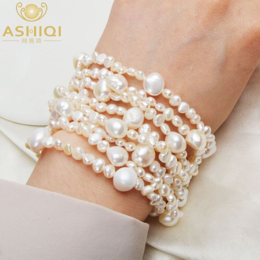 Ashiqi Multilayer Natural Freshwater Pearl Bracelet For Women Gorgeous 8