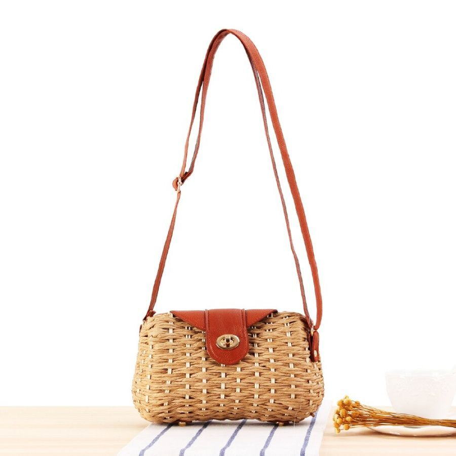 2019 Hand-Woven Candy Color Women Straw Bag Ladies Small Shoulder