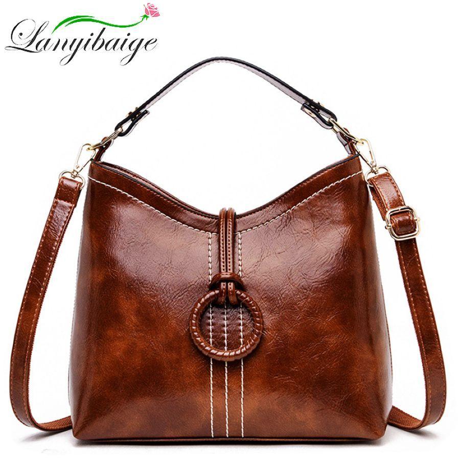 Women Vintage Bag Oil Wax Leather Handbags 2019 Luxury Ladies