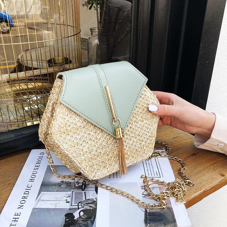 2019 New Fashion Hexagon Straw Bag Handbags Women Summer Rattan