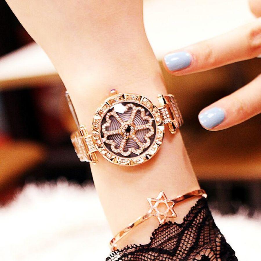 Top Brand Luxury Diamond Rose Gold Watch Woman Quartz Watches