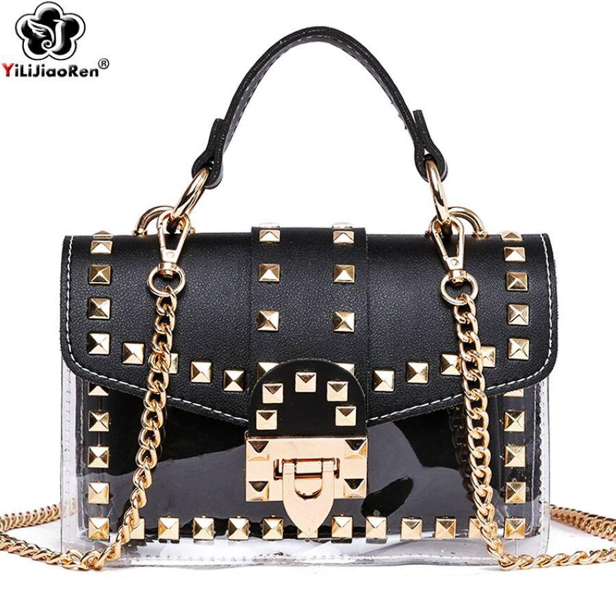 Fashion Rivet Small Clear Handbags Brand Women Transpar